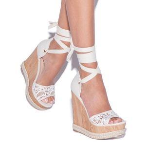 ShoeDazzle Tie Lace Up Platform Wedges